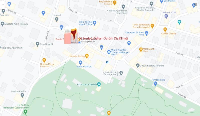 Haritadaki Çene Cerrahisi Uzmanı Dr. Arzu Ferdağ Öztürk ve Diş Hekimi Özhan Öztürk muayehanesine google map ile gitmek için resmi tıklayın!